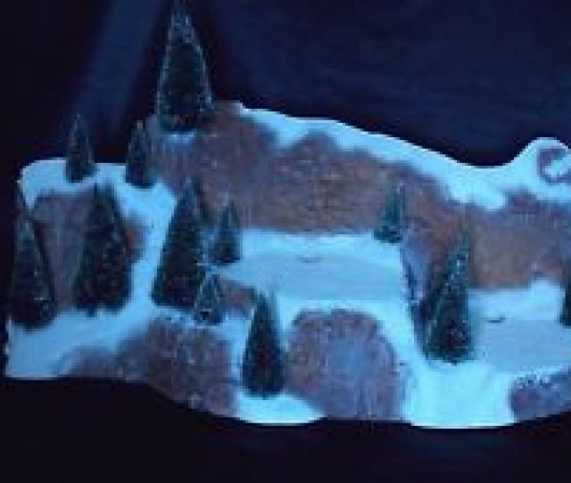 Christmas Dept  Large Village Mountain With Frosted Sisal Trees U S A  Pc