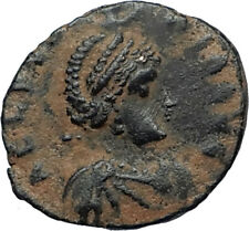 EUDOXIA Arcadius Wife 401AD Authentic Ancient Roman Coin VICTORY CHI-RHO i67282