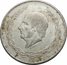 1953 MEXICO Mexican Independence War Hero HIDALGO on Big 4cm Silver Coin i72000