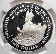 1973 COOK ISLANDS Proof Silver 2 Dollars Coin ELIZABETH II Coronation NGC i72140