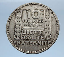 1934 FRANCE Authentic Vintage Silver 10 Francs French MOTTO Coin Mariane i69346