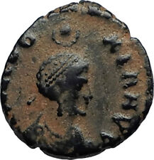 EUDOXIA Arcadius Wife 401AD Authentic Ancient Roman Coin VICTORY CHI-RHO i67364