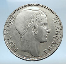 1938 FRANCE Authentic Large Silver 20 Francs Vintage French MOTTO Coin i74080