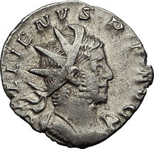 Gallienus  258AD Lyons Authentic Silver Ancient  Roman Coin VICTORY Rare i58987