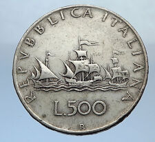 1959 ITALY - CHRISTOPHER COLUMBUS DISCOVER America SILVER Italian Coin i69870