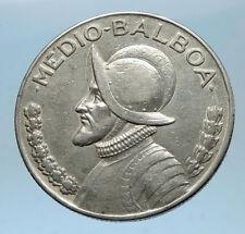 1930 PANAMA BIG 3cm Silver CONQUISTADOR Half BALBOA Central America Coin i68598