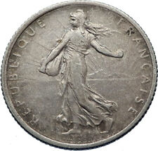 1916 FRANCE Antique Silver 1 Franc French Coin w La Semeuse Sower Woman i72424