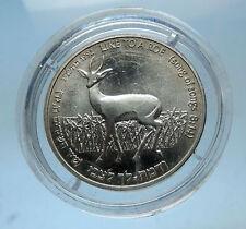 1992 ISRAEL Genuine Silver New Sheqel Coin Wildlif ROE DEER & LILY FLOWER i68574