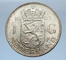 1965 Netherlands Kingdom Queen JULIANA 1 Gulden Authentic Silver Coin i69475