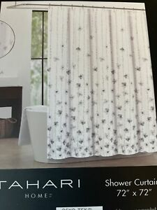 tahari white fabric shower curtains for