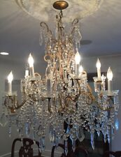 Antique Vintage Italian Crystal Macaroni Beaded Chandelier 12 Light 36