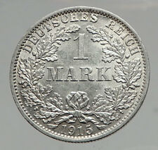 1915 WILHELM II of GERMANY 1 Mark Antique German Empire Silver Coin Eagle i64598