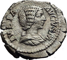 JULIA DOMNA 193AD Ancient Authentic Silver Roman Coin JUNO Peacock i63444