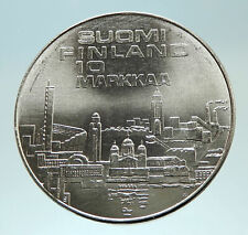 1971 FINLAND European Athletic Games TRACK Genuine Silver 10 Markkaa Coin i76800