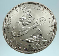 1959 Bermuda British Colony Elizabeth II LARGE Boats Silver 1 Crown Coin i76202