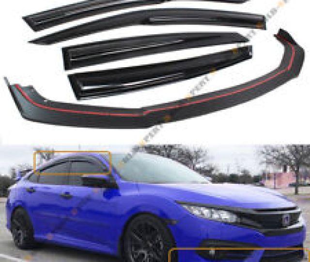 For 2016 18 Honda Civic 4dr Front Bumper Lip Splitter Window Visor Rain Guard
