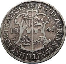 1941 SOUTH AFRICA under UK King GEORGE V Silver 2 Shillings Vintage Coin i71868