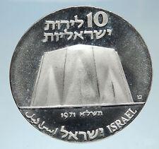 1971 ISRAEL Power Plant Molecule Cog Wheel Genuine Silver 10 Lirot Coin i75145