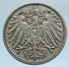 1911 G GERMANY 5 Pfennig Antique German Empire Coin of King WILHELM II i74345