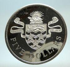 1974 CAYMAN ISLANDS 4.2cm Proof Silver $5 Coin w UK Queen Elizabeth II i76812