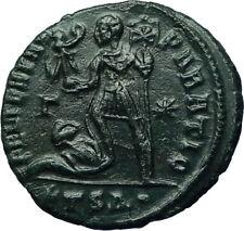 CONSTANTIUS II 350AD Ancient Roman Coin Christ Labarum Chi-Rho & Captive i66551