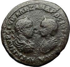 SEVERUS ALEXANDER & JULIA MAESA Ancient Marcianopolis Roman Coin w APOLLO i71120
