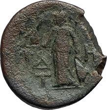 TEMNOS in Aeolis 2-1cenBC Authentic Ancient Greek Coin DIONYSUS & ATHENA i66781