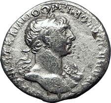 TRAJAN  116AD Rome Authentic Genuine Ancient Silver Roman Coin VIRTUS i70293