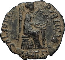 EUDOXIA Arcadius Wife 401AD Authentic Ancient Roman Coin VICTORY CHI-RHO i67727