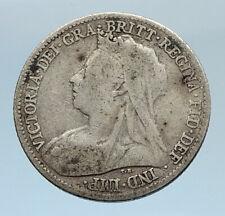 1899 UK Great Britain United Kingdom QUEEN VICTORIA 6 Pence Silver Coin i74326