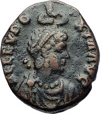 EUDOXIA Arcadius Wife 401AD Authentic Ancient Roman Coin VICTORY CHI-RHO i70245