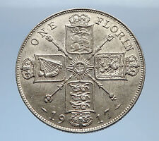 1917 United Kingdom Great Britain GEORGE V Silver Florin 2 Shillings Coin i69405