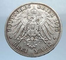 1910 PRUSSIA KINGDOM Germany WILHELM II Silver 3 Mark German Coin i71795