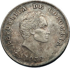 1932 COLOMBIA Authentic Silver 50 Centavos Columbian Coin w SIMON BOLIVAR i71192