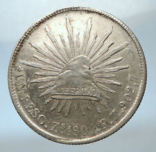 1901 MEXICO Large w Eagle Liberty Cap Mexican Antique Silver 1 Peso Coin i73842