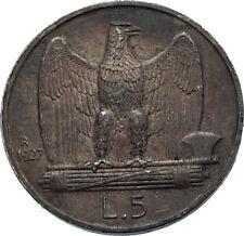 1927 ITALY King Victor Emmanuel III Silver 5 Lire Italian Coin w EAGLE i71890