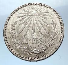 1933 MEXICO Large w Eagle Liberty Cap Mexican Antique Silver 1 Peso Coin i73947
