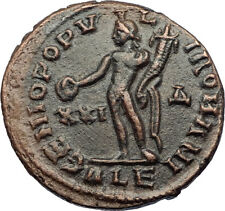 MAXIMIAN Authentic Ancient 300AD Alexandria Original Roman Coin w GENIUS i69186