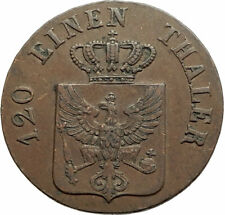 1842 GERMAN STATES Prussia King Wilhelm IV Genuine Antique 3 Pence Coin i76902