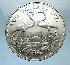 1971 The BAHAMAS SILVER 2 Dollars Large Coin Elizabeth II FLAMINGO Birds i68516
