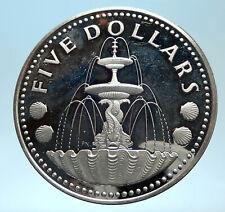 1973 BARBADOS Proof Arms Fountain Trafalgar Antique Silver 5 Dollars Coin i77461