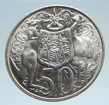 1966 AUSTRALIA UK Queen Elizabeth II with Kangaroos Silver 50 Cents Coin i75301
