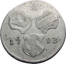 1793 FURTHER AUSTRIA 6 VI Kreuzer Silver w SHIELDS Austrian Vintage Coin i71790