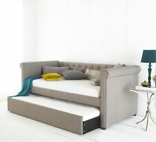 Chesterfield Day Guest Bed In Upholstered Grey 3ft Single With Pull Out Trundle