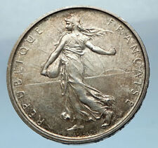 1965 FRANCE French LARGE Silver 5 Francs Coin w La Semeuse SOWER WOMAN i68252