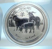 2015 AUSTRALIA Huge Elizabeth II Chinese Zodiac Goat Genuine Silver Coin i77501