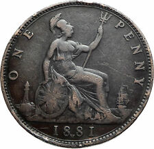 1881 UK Great Britain United Kingdom QUEEN VICTORIA Genuine Penny Coin i76212