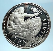 1973 BARBADOS Huge 4.2cm Genuine Proof Silver 10 Dollars Coin w NEPTUNE i77503
