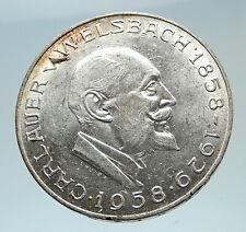 1958 AUSTRIA Chemist Auer von Welsbach Antique Silver 25 Schilling Coin i75391