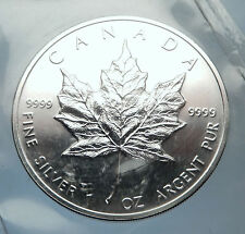 1991 CANADA Authentic Silver 1oz Coin UK Queen Elizabeth II & MAPLE LEAF i70903